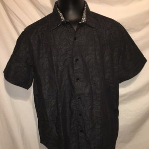 Robert Graham Button Up Short Sleeve Shirt Size XL